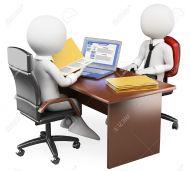 16723453-3d-hombre-de-negocios-blanco-en-una-entrevista-de-trabajo-con-el-curr-culo-y-el-perfil-de-las-redes--Foto-de-archivo